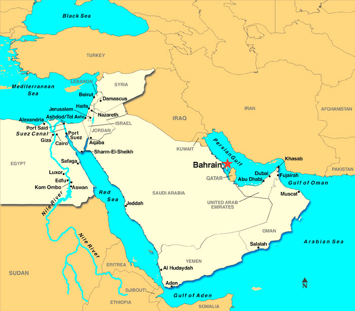 Look At A Map Of The Persian Gulf Bahrain The Island Between Two Seas Sits In The Persian Gulf With Iran Directly Across The Sea To The East