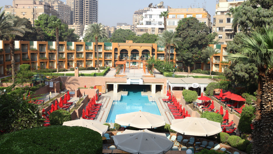 A view of the stuning garden at Cairo Marriott Hotel and Omar Khayyam Casino