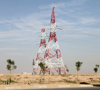 Power wires and cables, electricity transport network in Kurdistan region of Iraq