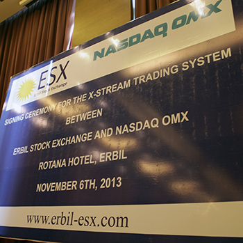 Erbil Stock Exchange, Nasdaq OMX signing
