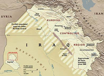 map of Kurdistan region of Iraq with Kirkuk